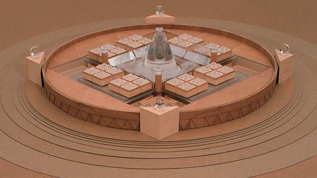 Este concepto muestra cómo podría verse Timeship. La región interior se utiliza para el almacenamiento de nitrógeno líquido. Las ocho estructuras de forma cuadrada albergan a cientos de pacientes congelados